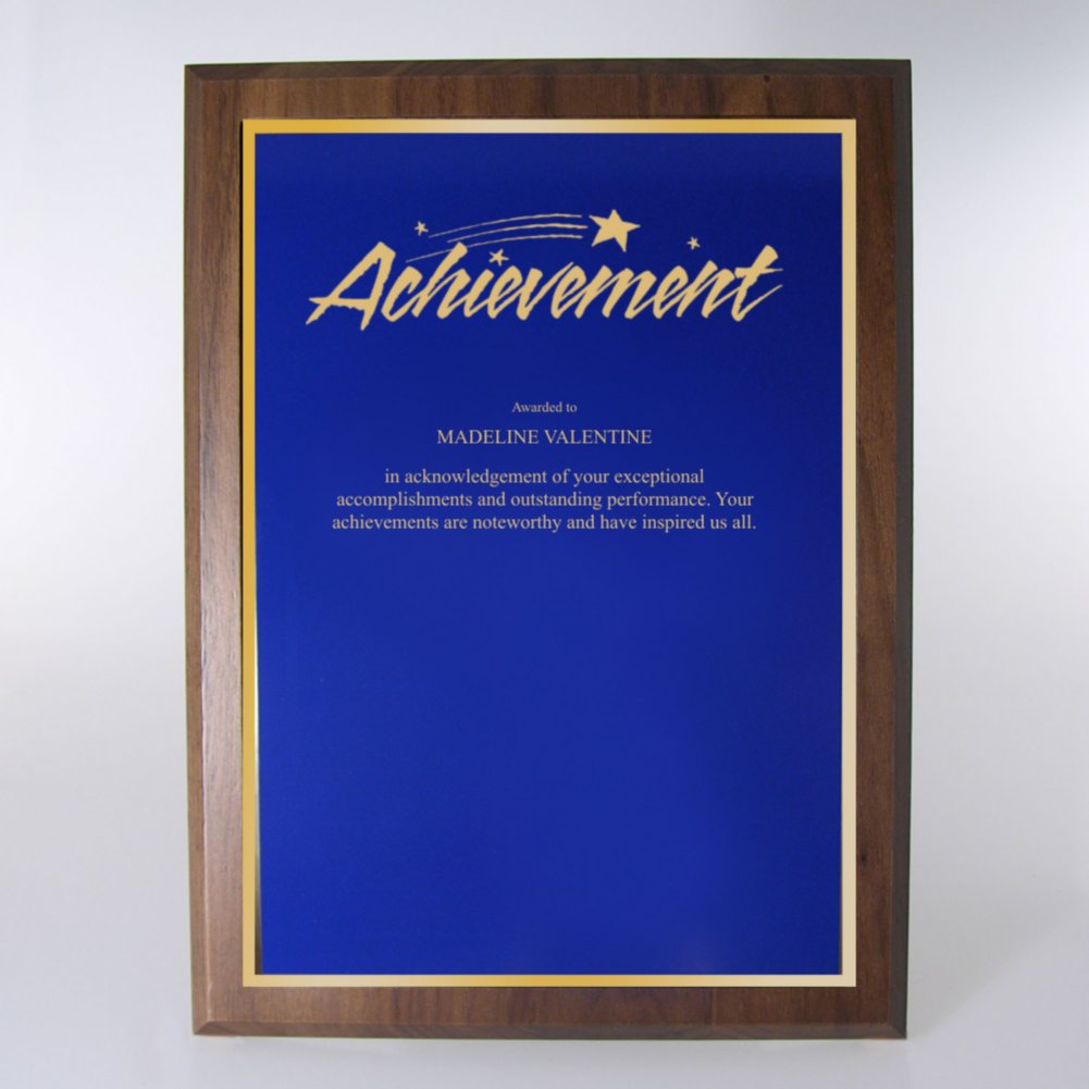 View larger image of Prestigious Award Plaque - Full-Size - Blue w/ Gold