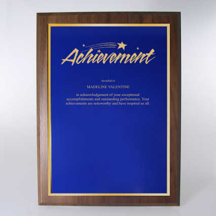Prestigious Award Plaque - Full-Size - Blue w/ Gold