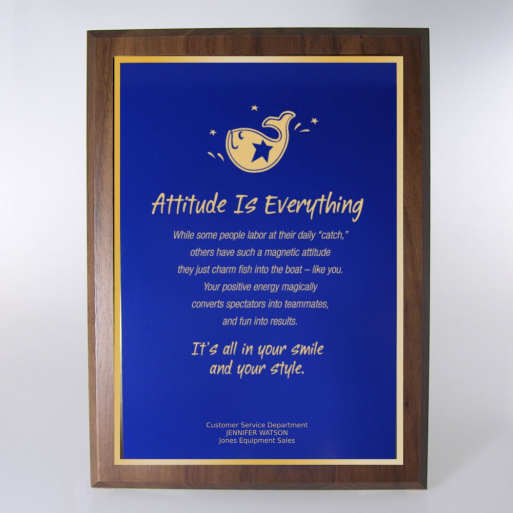View larger image of Character Award Plaque - Full-Size - Blue w/ Gold