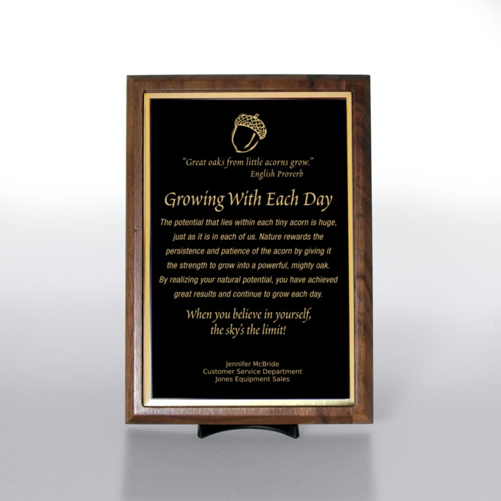 View larger image of Character Award Plaque - Half-Size - Black w/ Gold