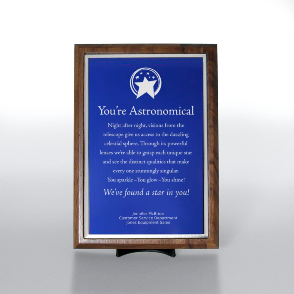 View larger image of Character Award Plaque - Half-Size - Blue w/ Silver