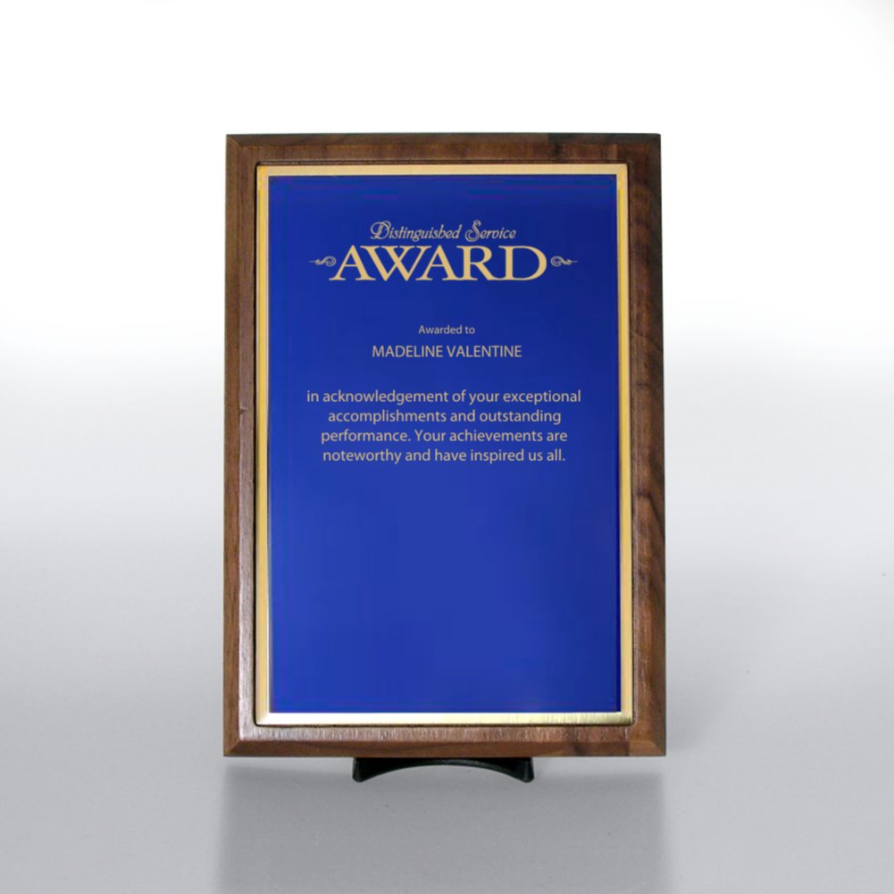 View larger image of Prestigious Award Plaque - Half-Size - Blue w/ Gold
