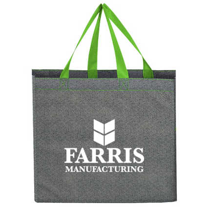 Add Your Logo: Colored Handle Shopper Tote