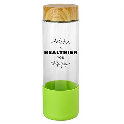 Add Your Logo:  SiliCan Glass Water Bottle