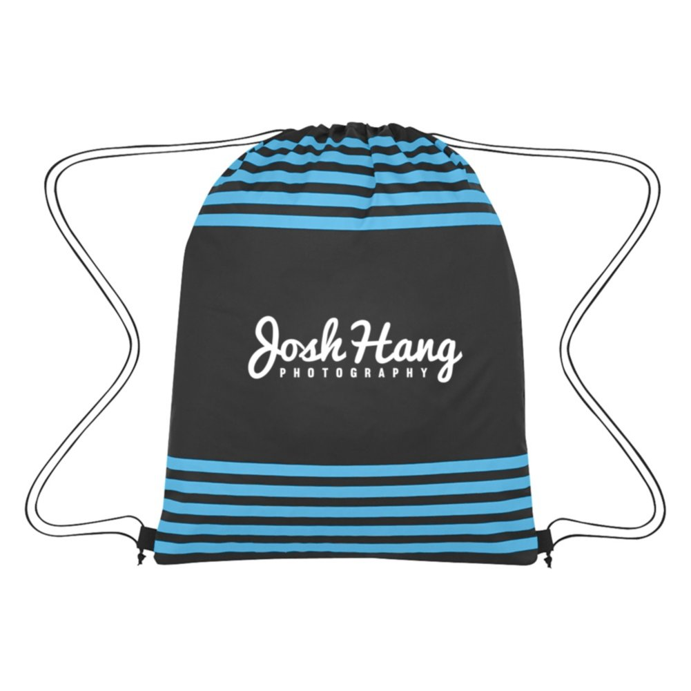 View larger image of Add Your Logo: Striped Drawstring Backpack