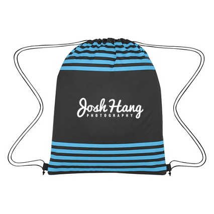 Add Your Logo: Striped Drawstring Backpack