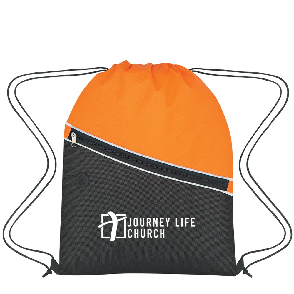 View larger image of Add Your Logo: Split Side of Things Drawstring Backpack