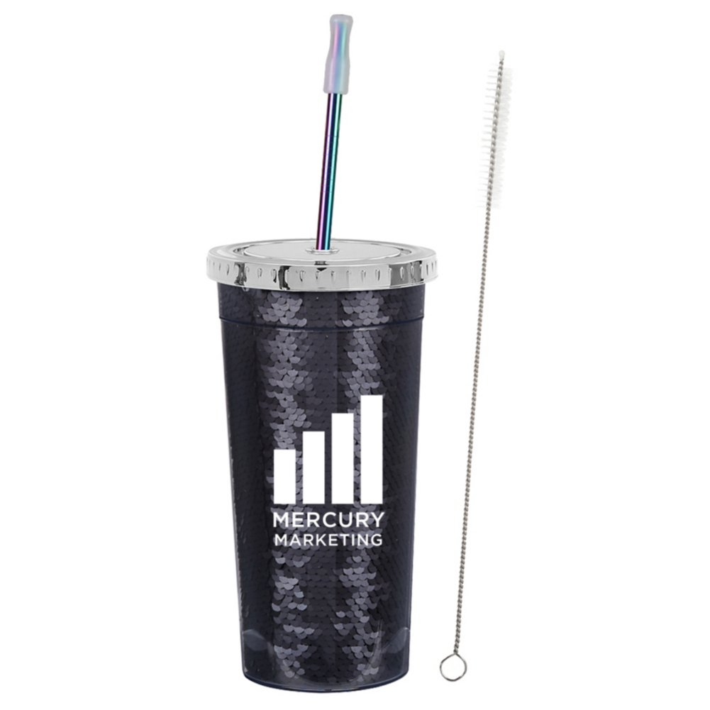 View larger image of Add Your Logo: 24 oz. Sequin Tumbler