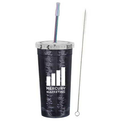 Add Your Logo: 24 oz. Sequin Tumbler