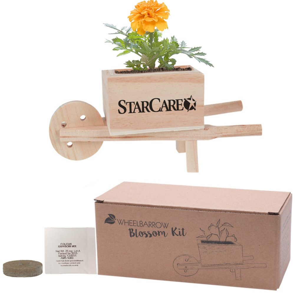 View larger image of Add Your Logo: Wooden Wheel Barrow Blossom Kit