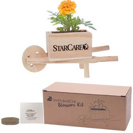 Add Your Logo: Wooden Wheel Barrow Blossom Kit