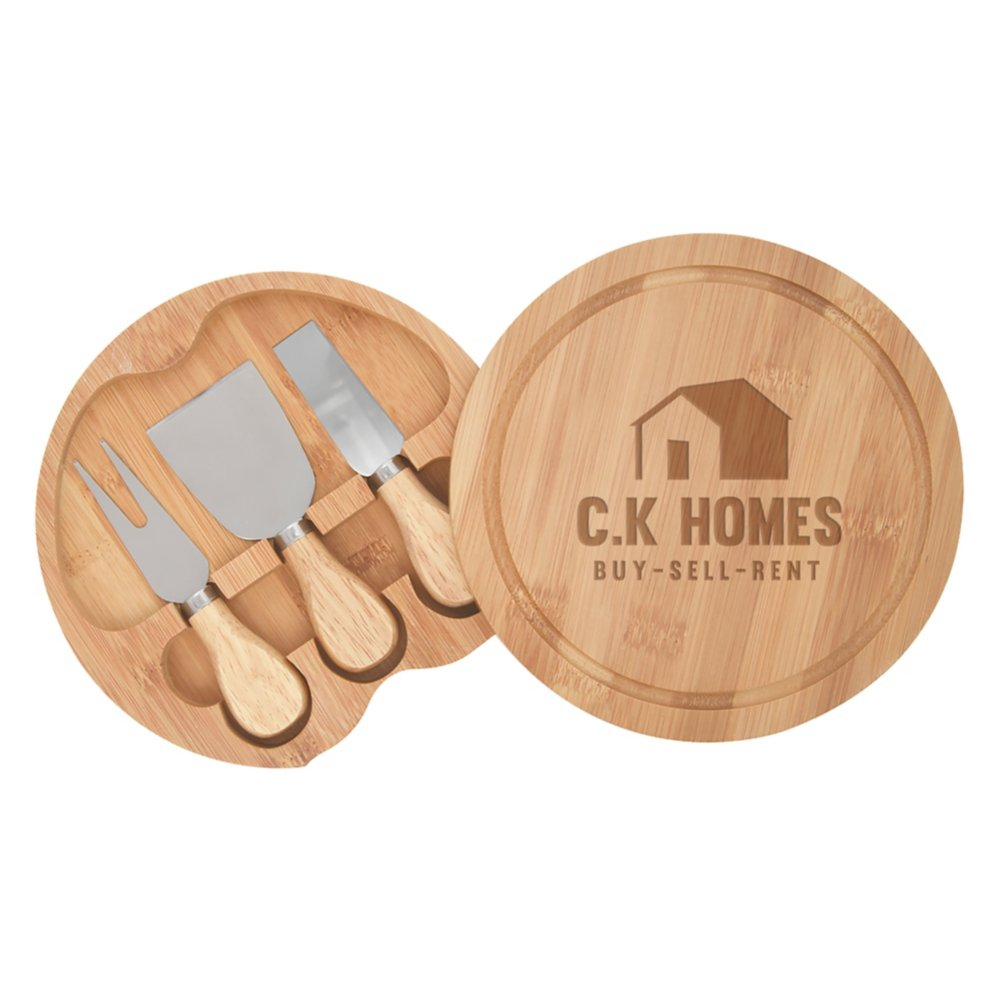 View larger image of Add Your Logo: Bamboo Cheese Server Kit