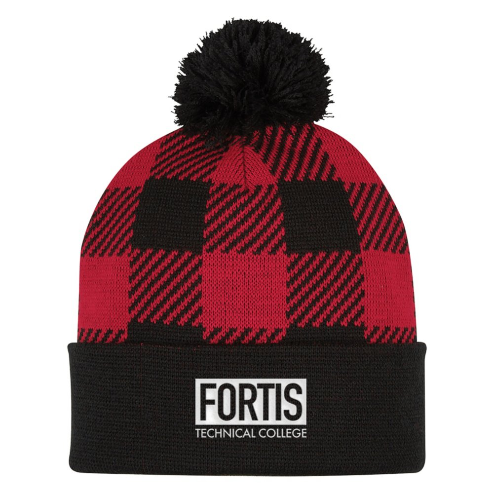 View larger image of Add Your Logo: Plaid Winter Beanie