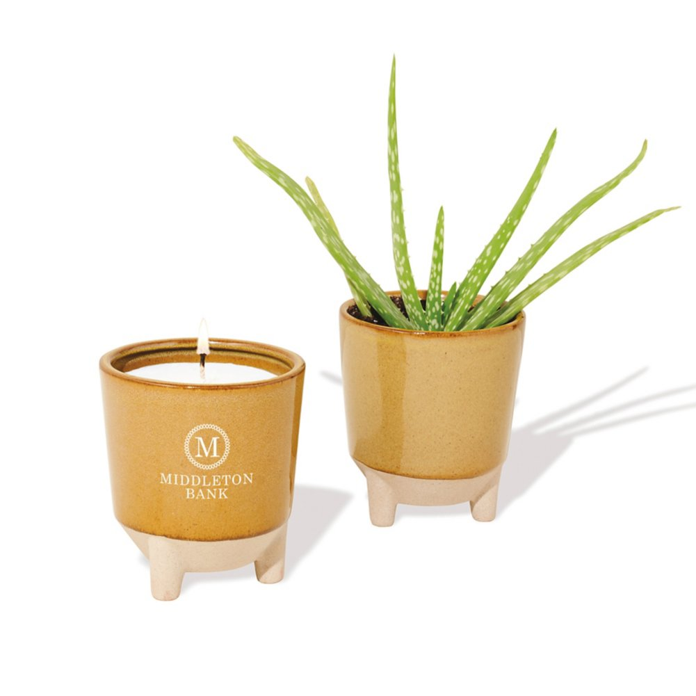 View larger image of Add Your Logo: Modern Sprout Candle and Planter Gift Set