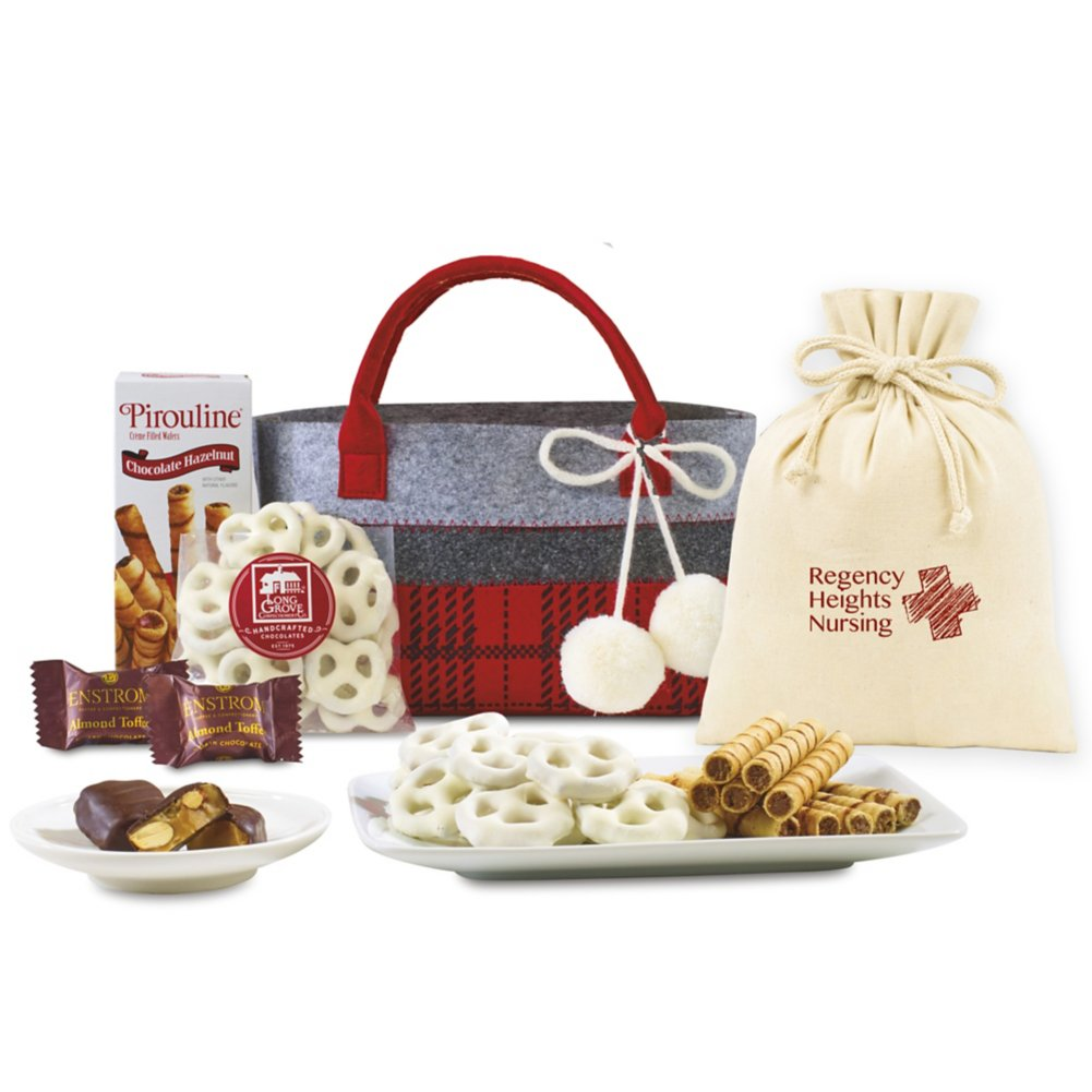 View larger image of Add Your Logo: Plaid Tote Treats Gift Set