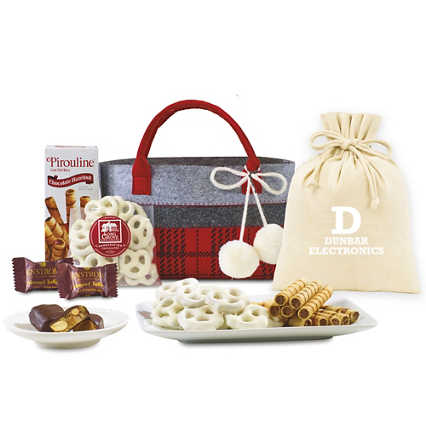 Add Your Logo: Plaid Tote Treats Gift Set