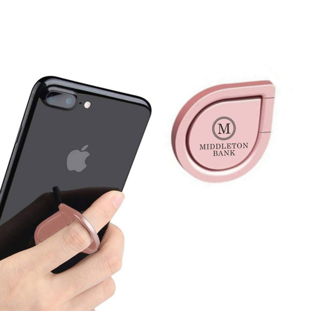 View larger image of Add Your Logo: Teardrop Metal Cellphone Holder