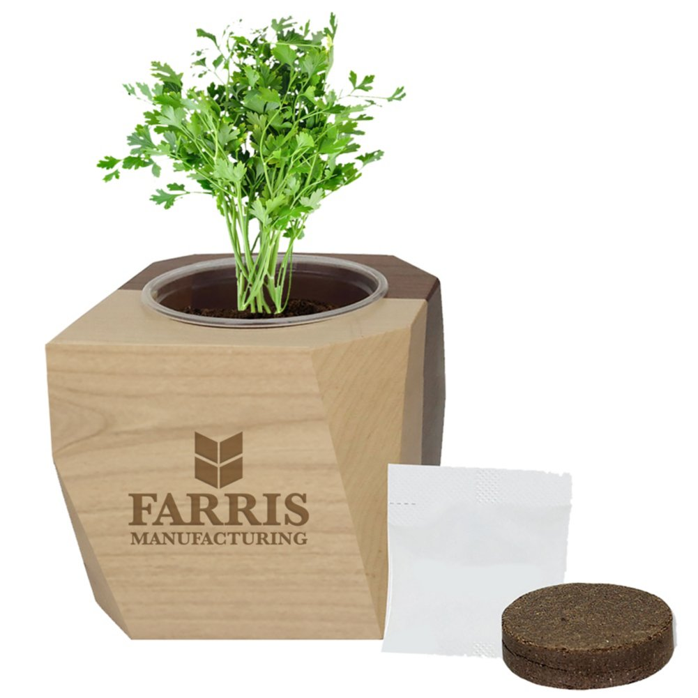 View larger image of Add Your Logo: Modern Wooden Planter