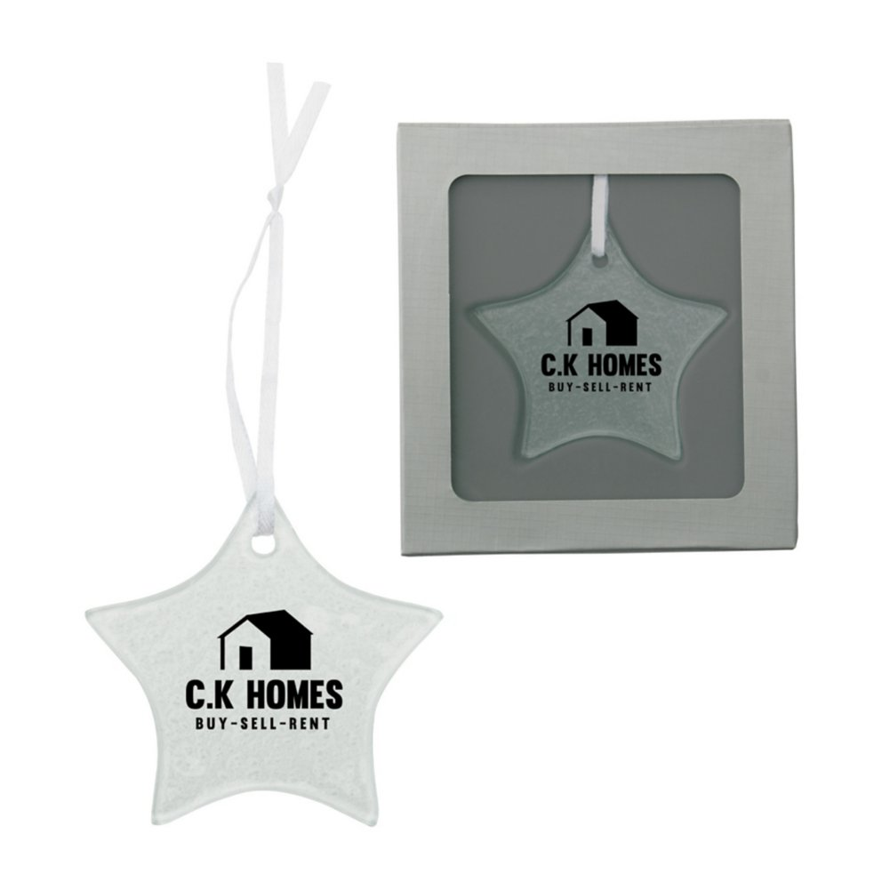 View larger image of Add Your Logo: Hammered Glass Ornament