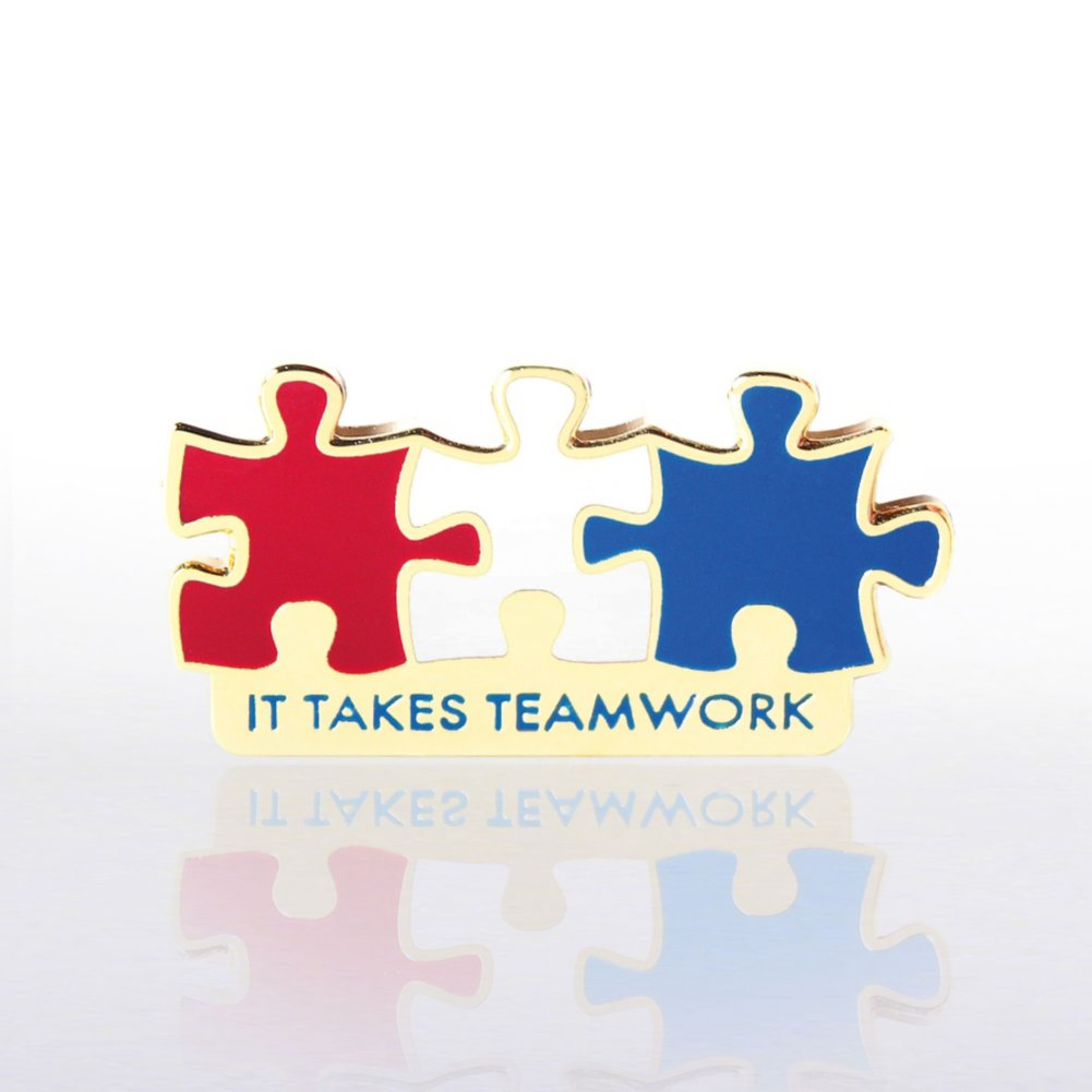 View larger image of Lapel Pin - It Takes Teamwork Red, White and Blue