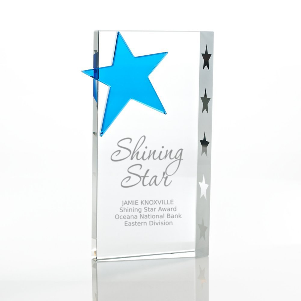 View larger image of Trophy - Crystal Blue Star - Rectangle