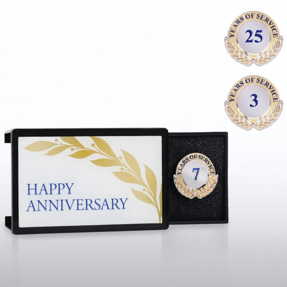 View larger image of Milestone Anniversary Lapel Pin - Happy Anniversary