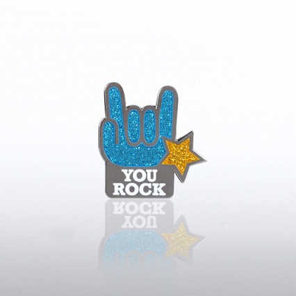 Glitter Lapel Pin - You Rock Star Hands