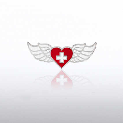 Lapel Pin - Wings Heart and Cross