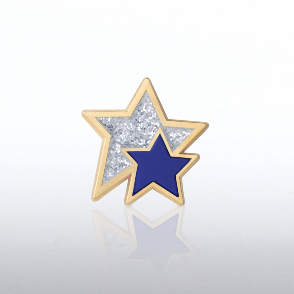 View larger image of Lapel Pin - Glitter and PVC Stars