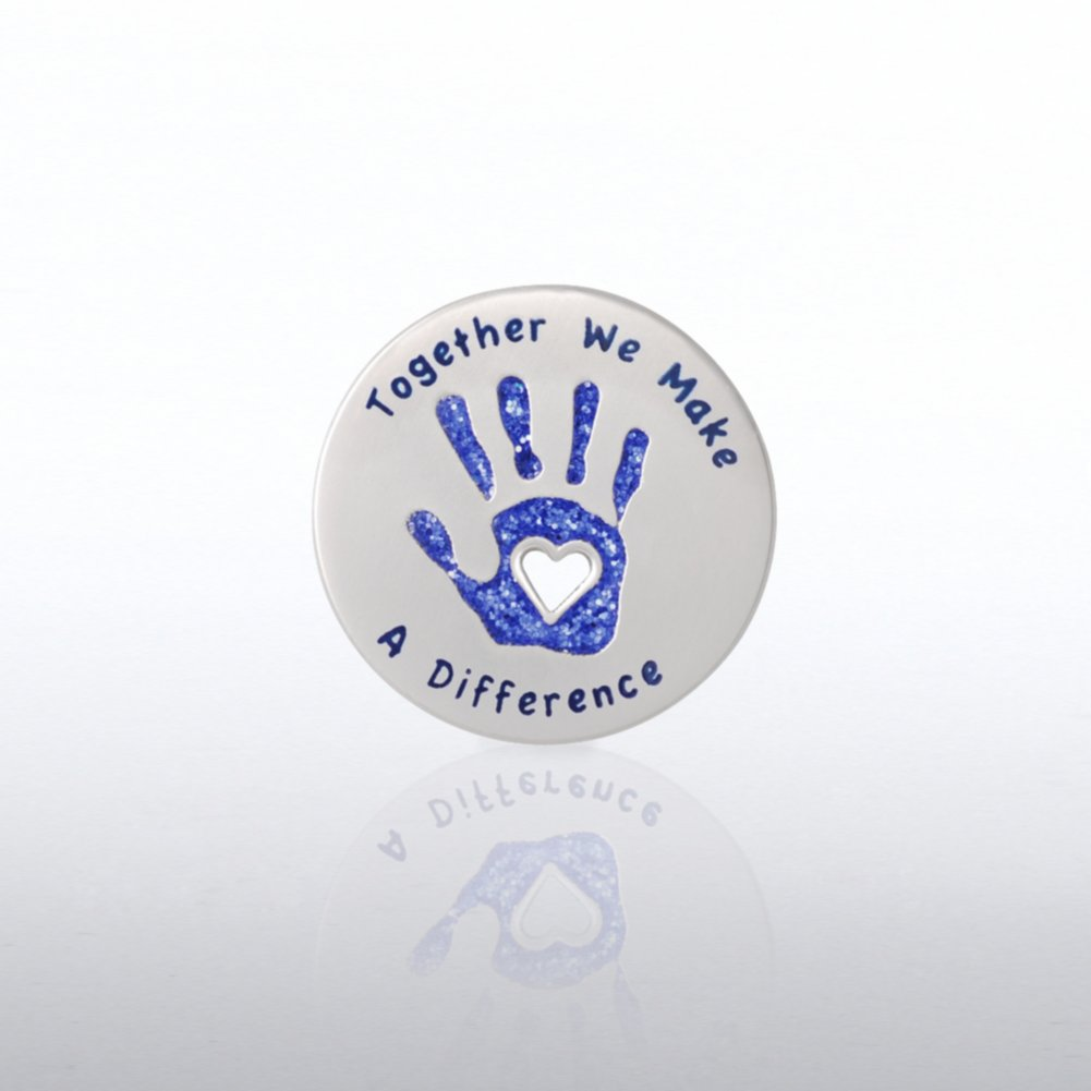 Lapel Pin - Glitter - Together We Make a Difference Hand