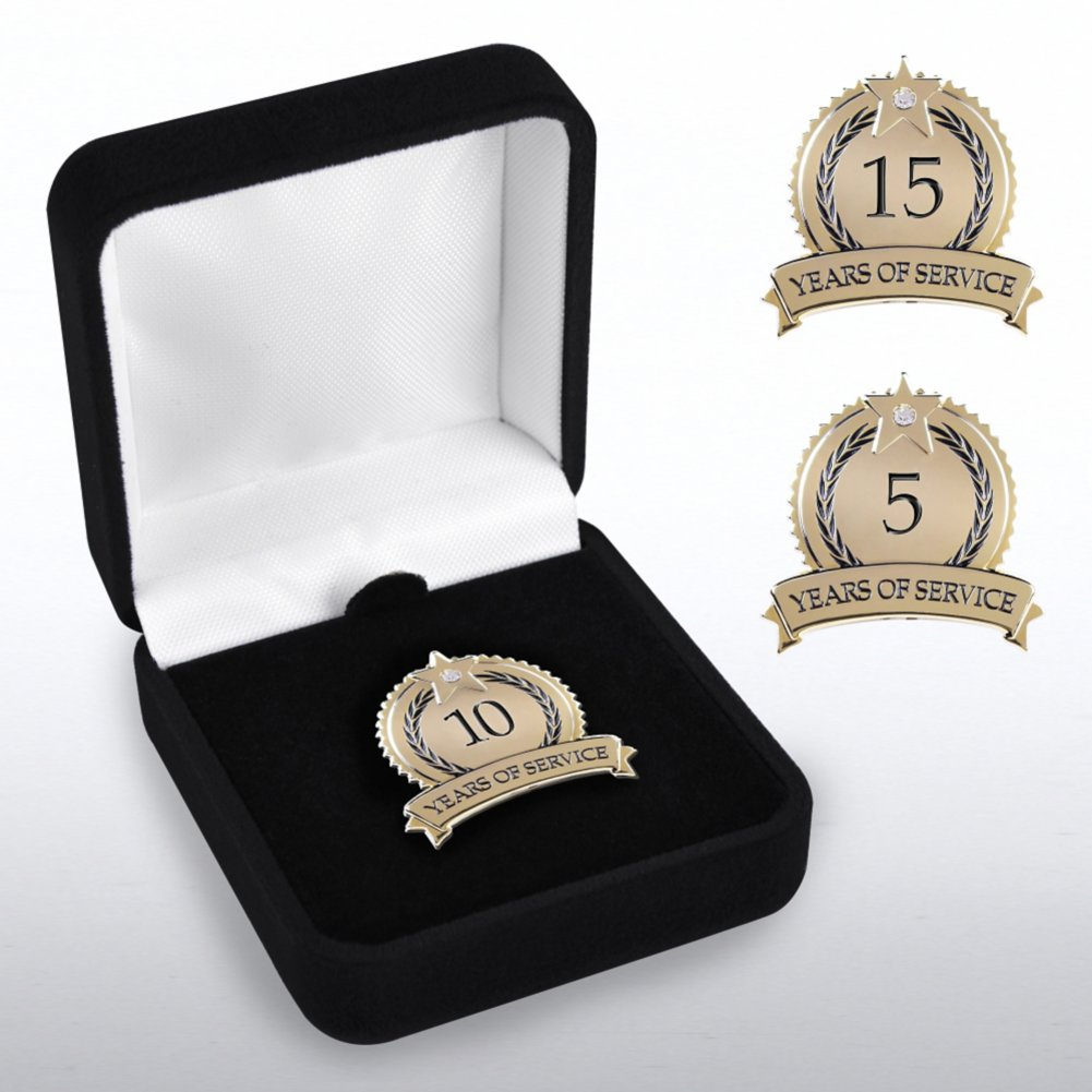 View larger image of Anniversary Lapel Pin - Star Laurels with Gem