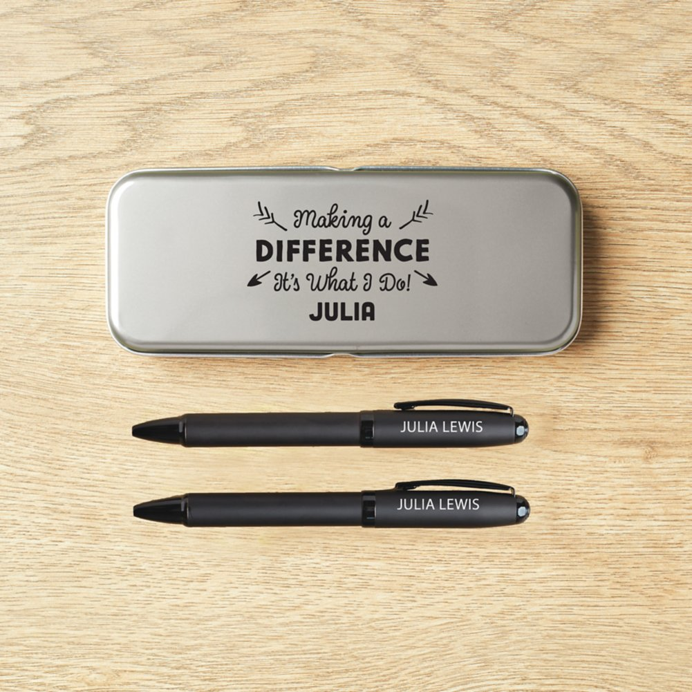 View larger image of Modern Matte Black Pen Set in Case