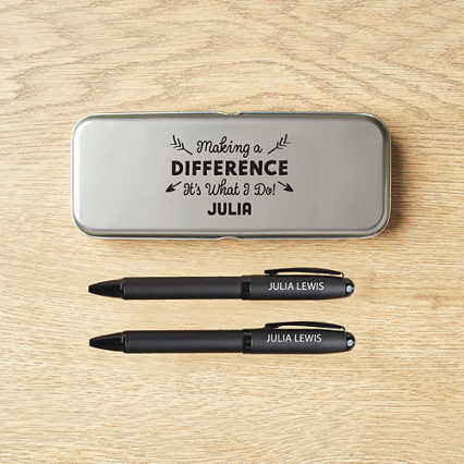 Surpr!se Custom: Modern Matte Black Pen Set in Case