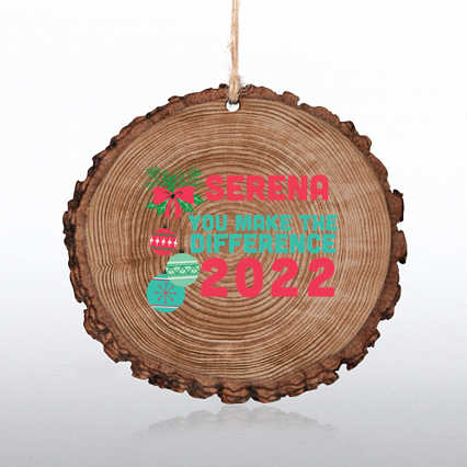 Wood Slice Holiday Ornament
