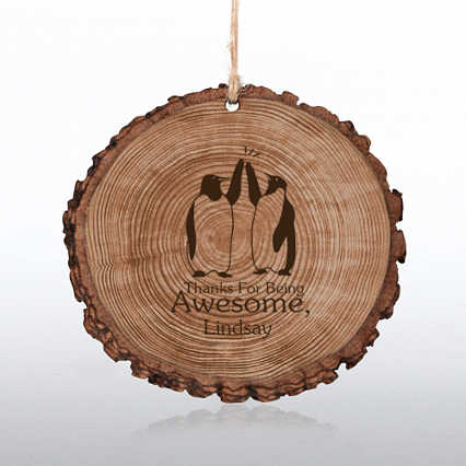 Engraved Wood Slice Ornament