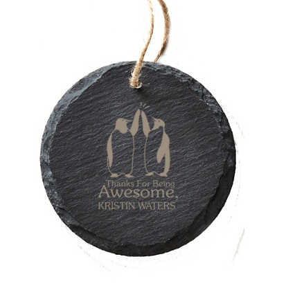 Engraved Slate Ornament -Round