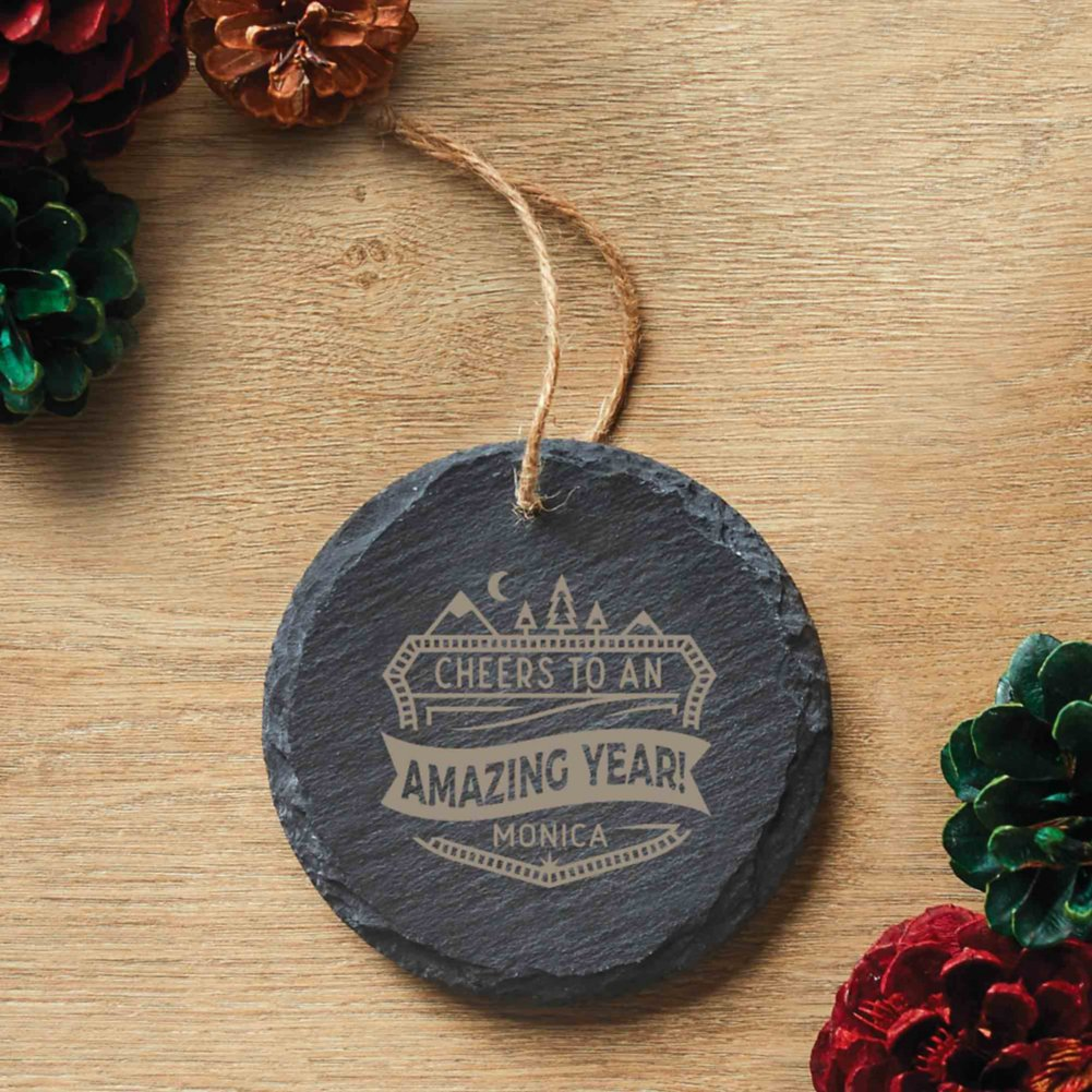 View larger image of Custom Collection: Engraved Slate Ornament -Round