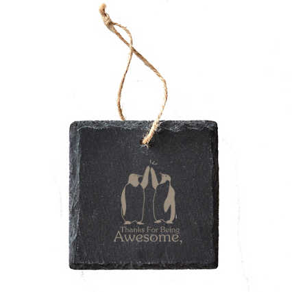 Engraved Slate Ornament - Square