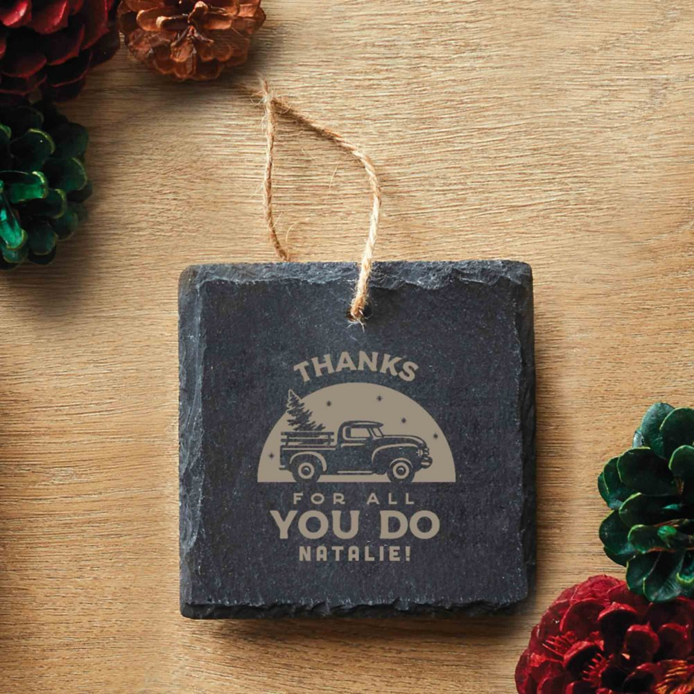 View larger image of Custom Collection: Engraved Slate Ornament - Square