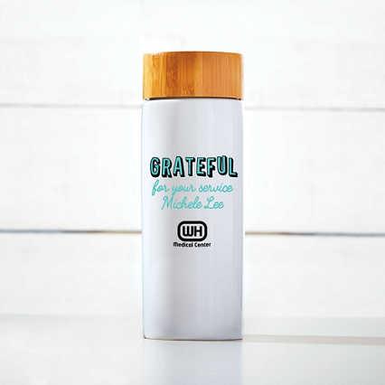 Surpr!se Custom: Modern Bamboo Accent Ceramic Bottle