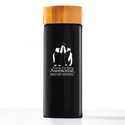 Surpr!se Custom: Modern Bamboo Accent Ceramic Bottle