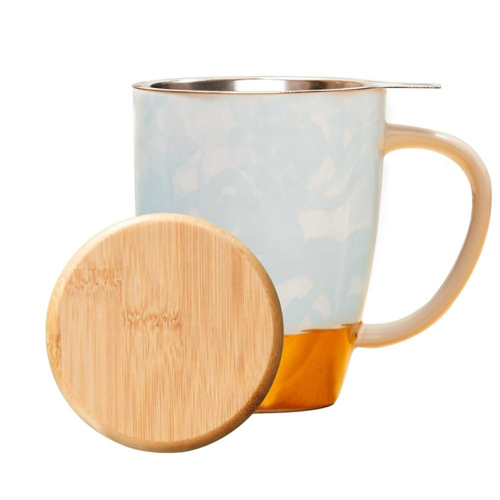 Pinky Up Ceramic Tea Gift Sets - Blue and Gold