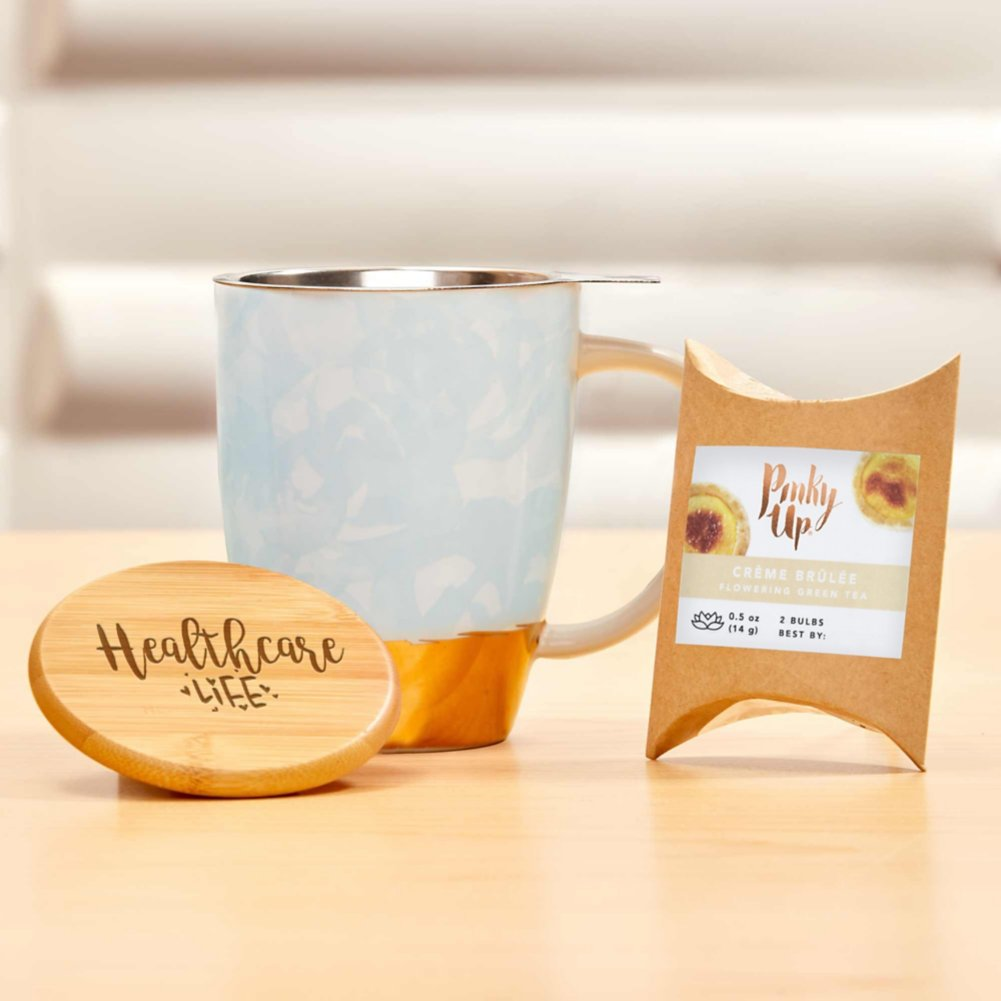 View larger image of Pinky Up Ceramic Tea Gift Sets - Blue and Gold
