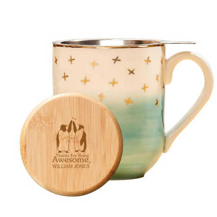 Pinky Up Ceramic Tea Gift Sets - Teal and Gold