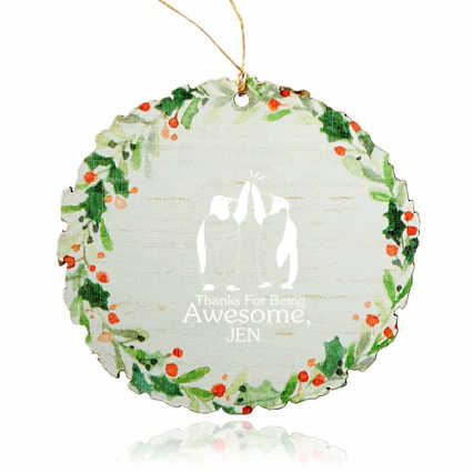 Holly Jolly Wooden Wreath Ornament