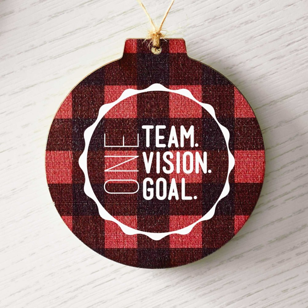 View larger image of Custom Collection: Holiday Traditions Wooden Ornament - Buffalo Plaid