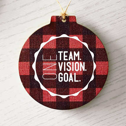 Holiday Traditions Wooden Ornament - Buffalo Plaid
