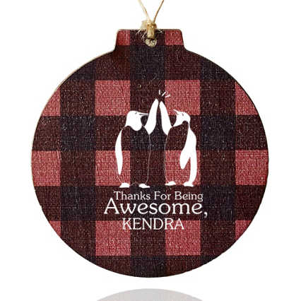 Custom Collection: Holiday Traditions Wooden Ornament - Buffalo Plaid
