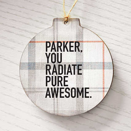 Holiday Traditions Wooden Ornament - Gray Plaid