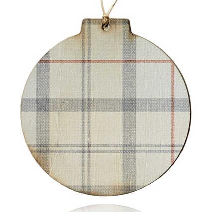 Surpr!se Custom: Holiday Wood Ornament - Gray Plaid